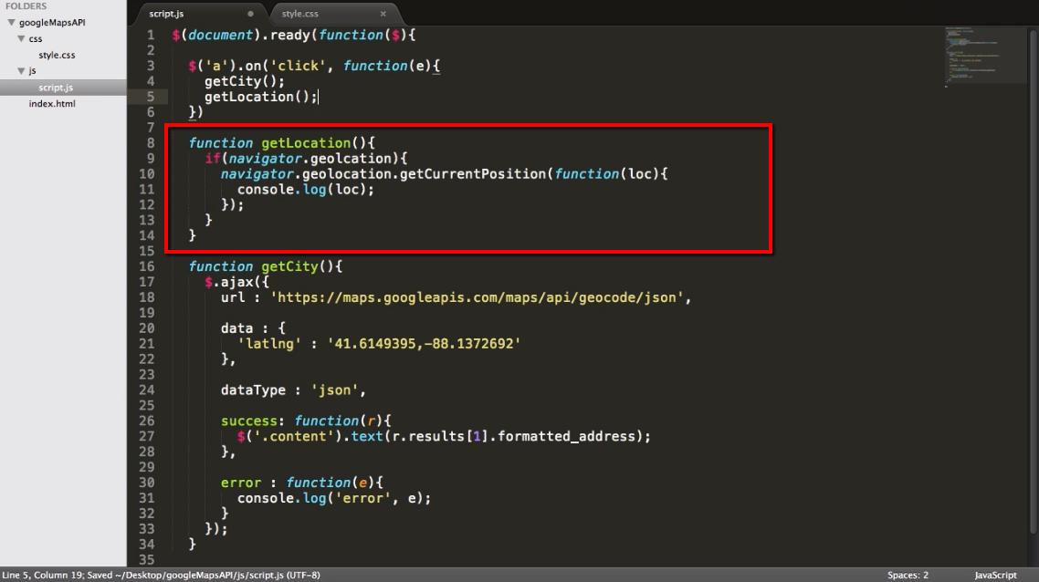 Ajax: Create a Location Finder App using jQuery & Google