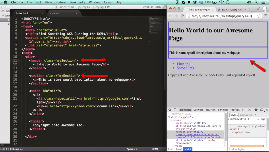 Find Something / Query the DOM with jQuery - part 1