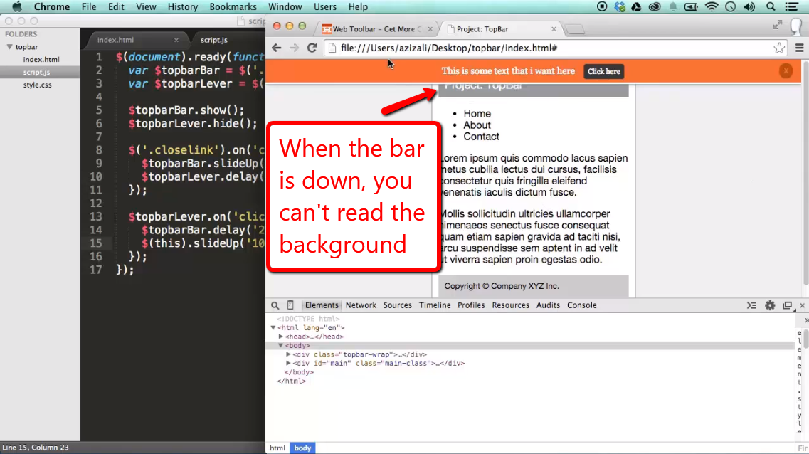 Project: Create a Top Bar Widget with jQuery - iLoveCoding