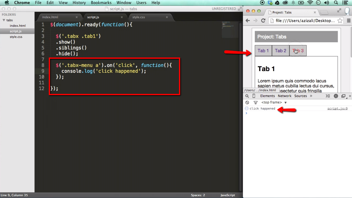 Project create tabs functionality with jquery ilovecoding - Jquery refresh div on click ...
